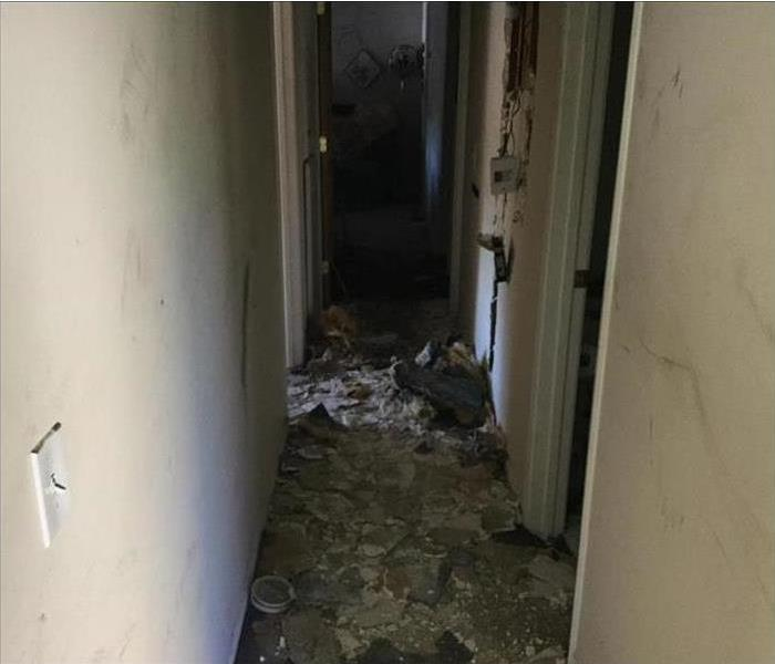 Hallway damaged after fire